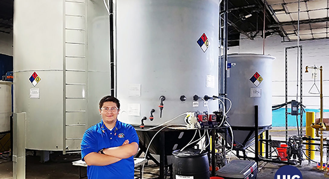 Chris Quintero a 2016 chemical engineering graduate of UIC now works to eliminate waste and treat process water at Dynamic Manufacturing.