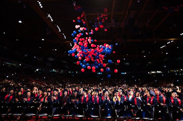 Balloon drop at graduation ceremony